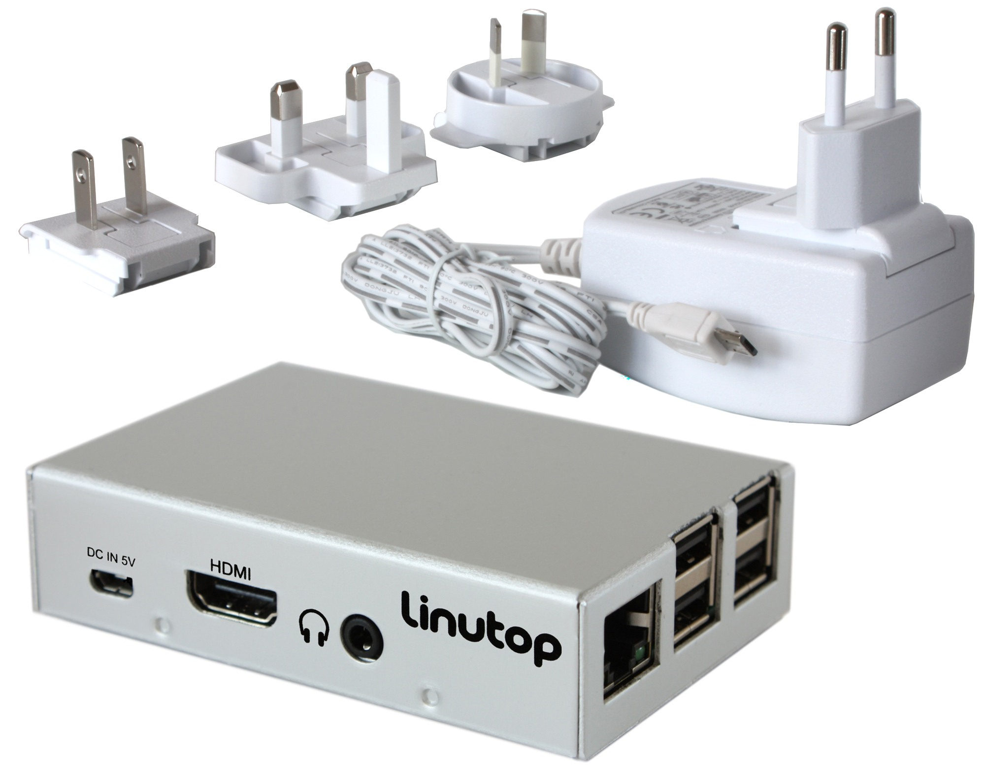 mini pc fanless linutop XS and power adapter
